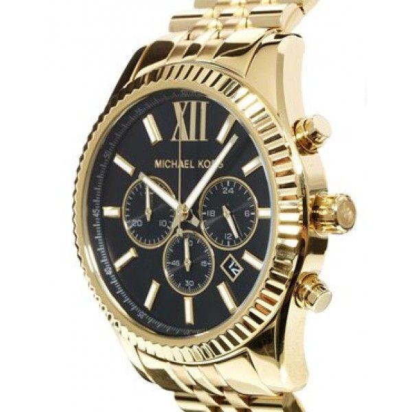 a3af28a27b46 Michael Kors MK8286 Lexington Chronograph Black Dial Gold-tone Men s Watch
