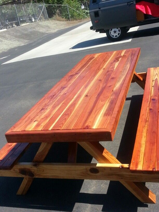 8ft Oversized Wrapped Redwood Picnic Table With Benches Attached And  Finished With Clear Thompsonu0027s Water Sealant