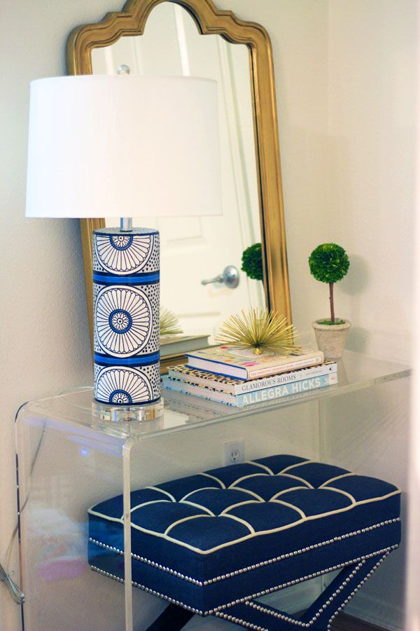 Blue And White Patterned Lamp Clear Acrylic Console Table