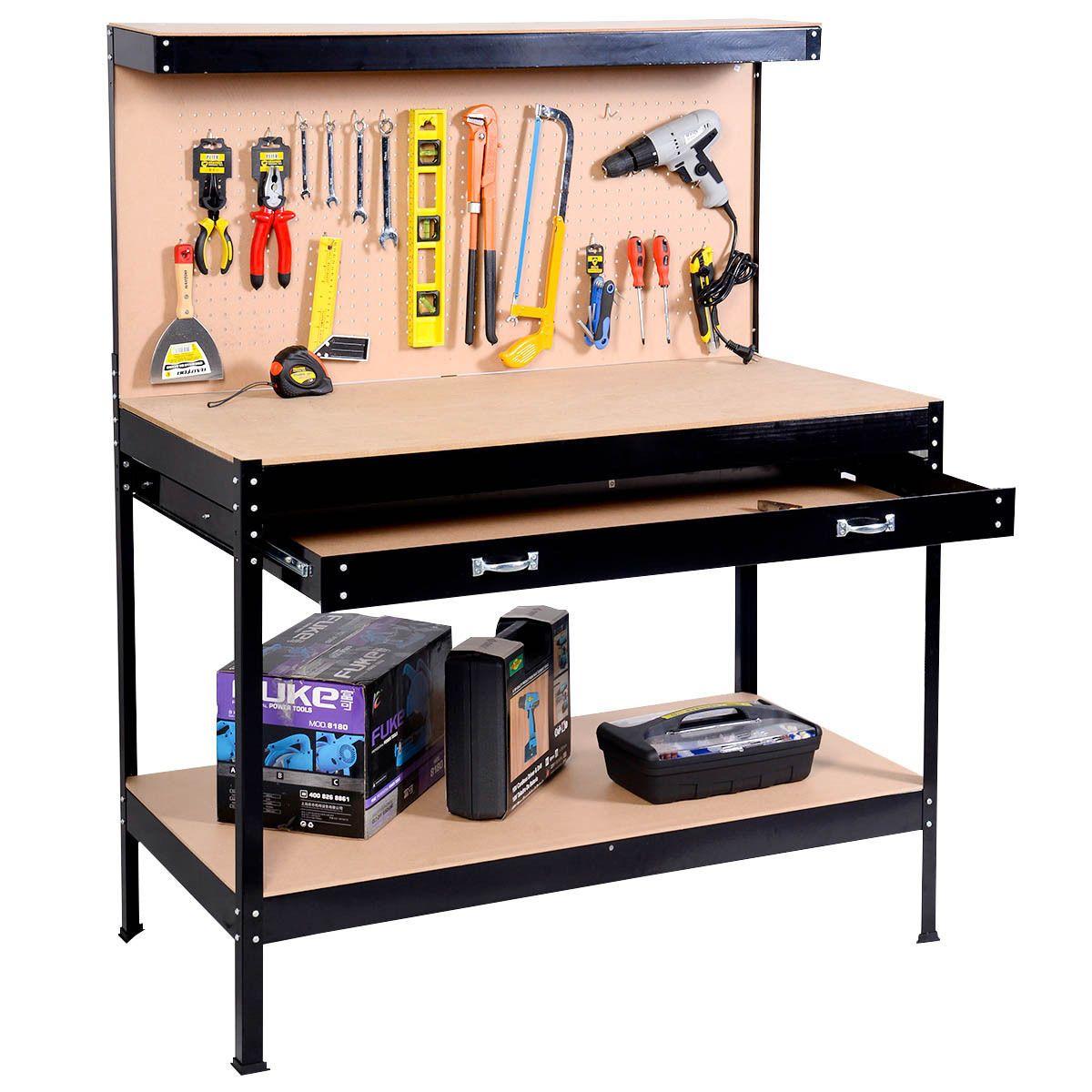 Garage Tool Box Work Bench Storage Pegboard Shelf Workshop Station Steel Black