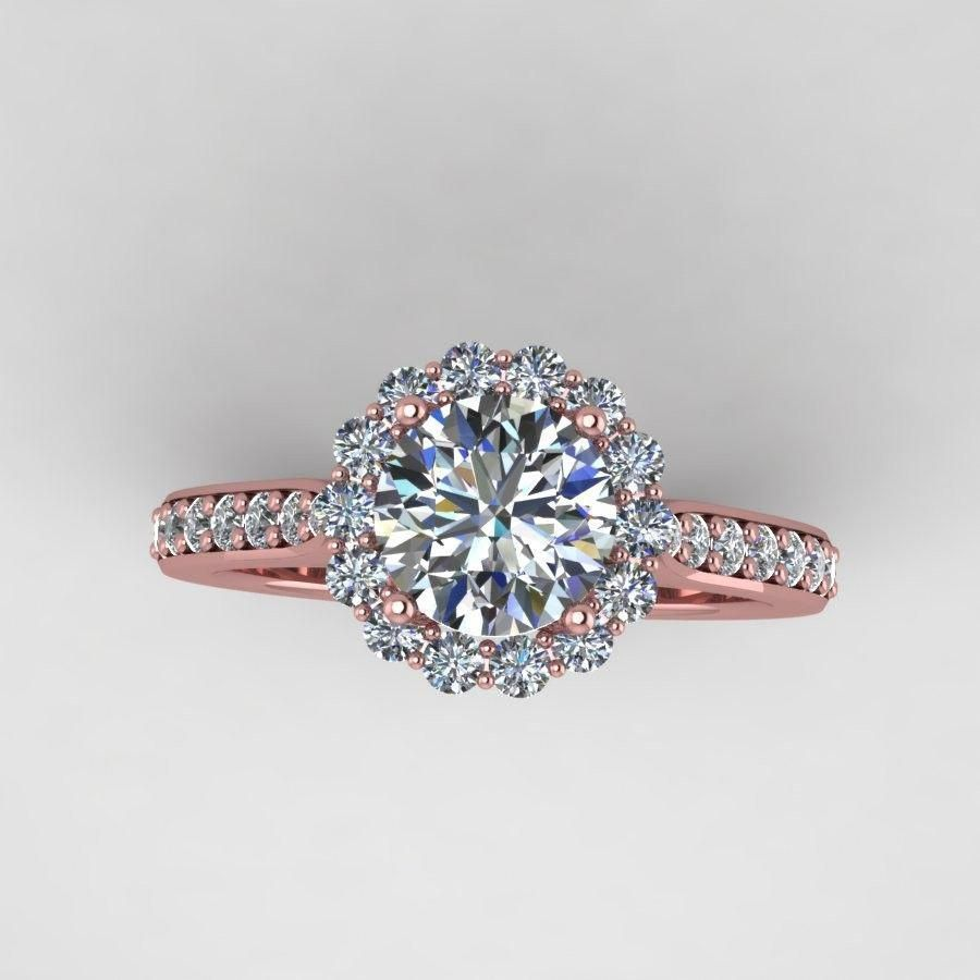 Rose gold diamond engagement ring with moissanite center style