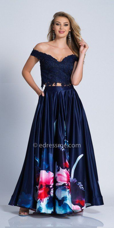 5a46c1c735bd Shine bright like a diamond and dance the night away in this Lace Two Piece  Off the Shoulder A-line Prom Dress by Dave and Johnny.