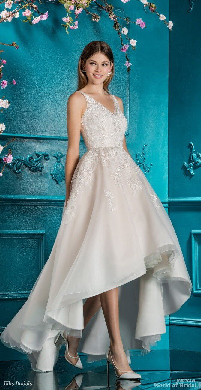 Off the shoulder tea length wedding dress  Ellis Bridals  Wedding Dresses  Ellis bridal Wedding dress and