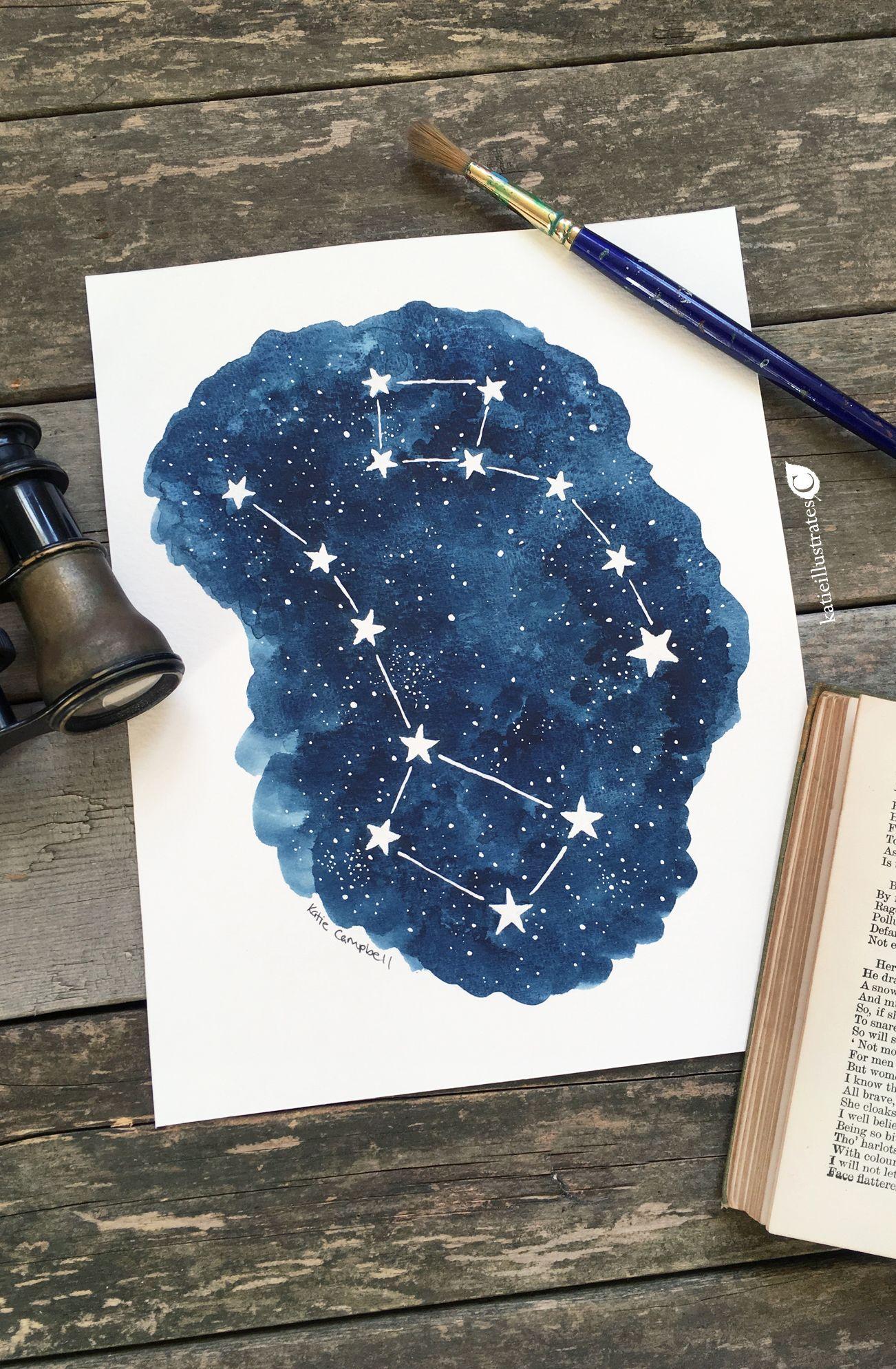 Big dipperlittle dipper constellation painting big