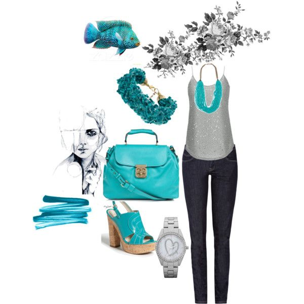blue, created by ajomary on Polyvore