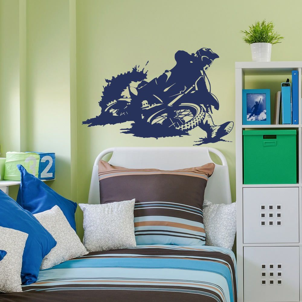 Motorbike Wall Decal Stickers Motocross Decor for