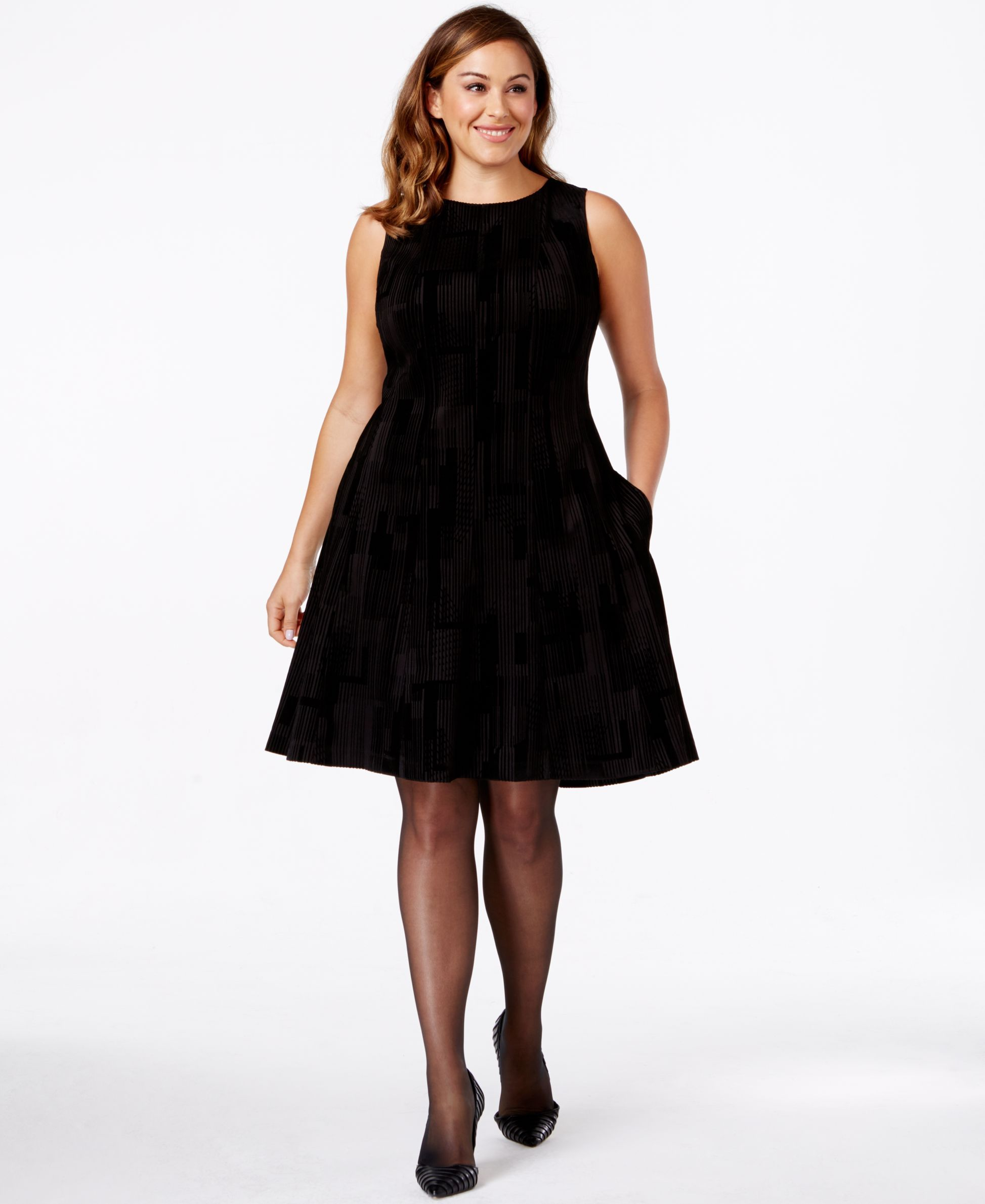 53ace317a95 Calvin Klein Plus Size Burnout-Fabric Sleeveless Fit-and-Flare Dress ...