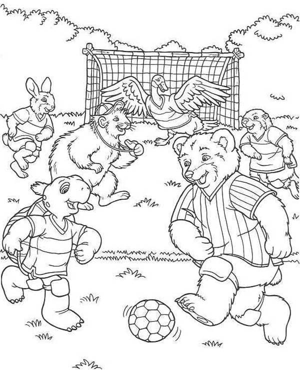 A Group Of Cute Animals Play Soccer In The Forest Coloring Page Download Print Online C Football Coloring Pages Online Coloring Pages Forest Coloring Pages