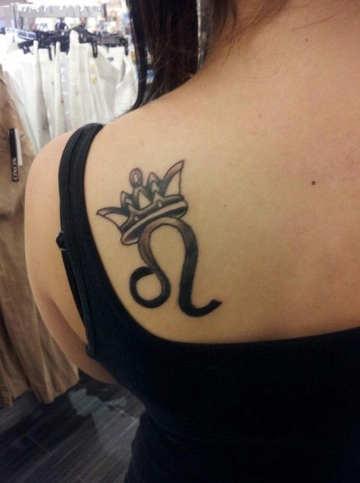 Leo Sign With A Crown Sweet Zodiac Tattoo Design For Cute Girl Leo Zodiac Tattoos Leo Tattoo Designs Tattoos