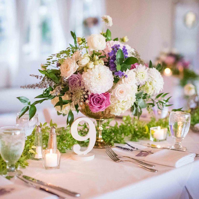 wedding reception table topper, 2017 wedding trends, flower wedding, roses, hydrangea, purple wedding table topper, @destinationweddingmag