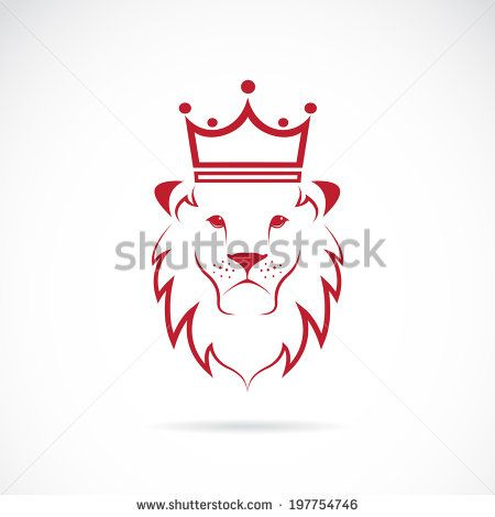 Lion With Crown Outline – Vector illustration the head of a lion with a crown eps clipart.