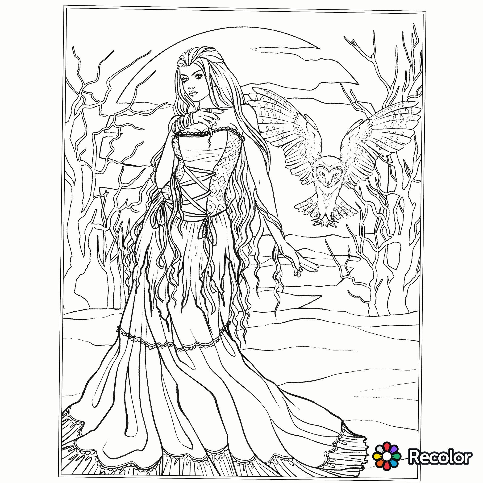Halloween Gothic coloring page | Fantasy Coloring Pages for Adults ...