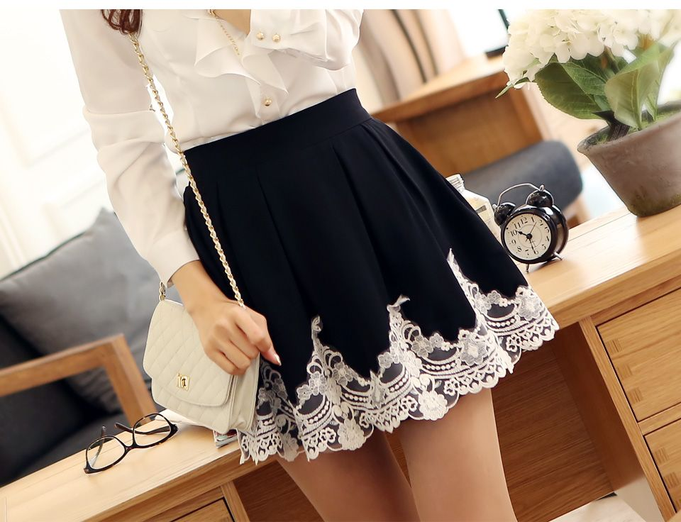 High Quality Autumn Elegant Embroidery Crochet Sweet Princess Lace Pleated Skirt Bust Skirt Puff Skirt Female Free Shipping-inSkirts from Apparel & Accessories on Aliexpress.com | Alibaba Group