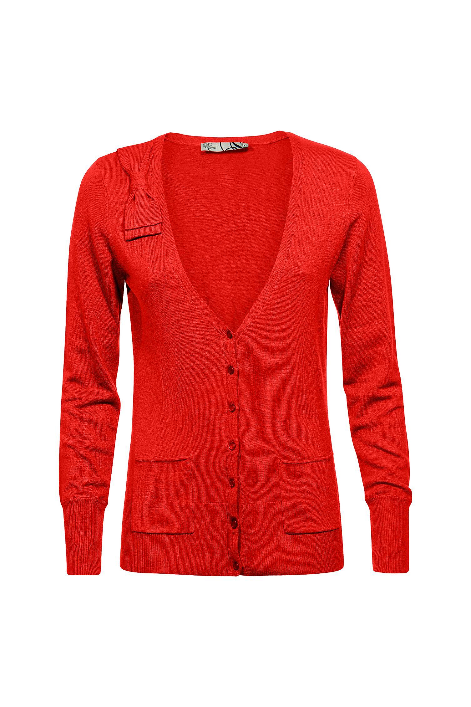 Rode cardigan met strik Caan - Levering in België bij e5 mode