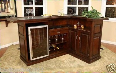 Love This Mini Fridge Bi Level Counter Etc American Heritage Catania L Shape Home Bar Pub Pocket 2 Foot Rails Loaded Ebay