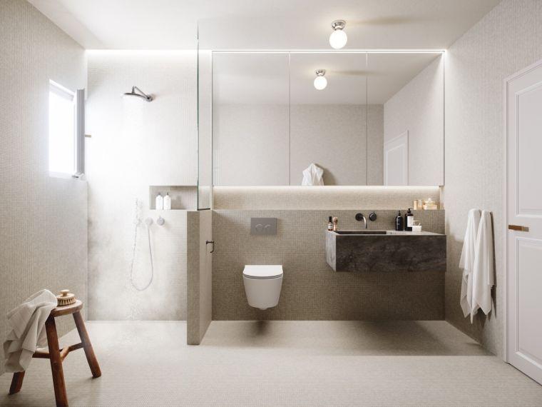 salle de bain moderne et décoration minimaliste et douche italienne