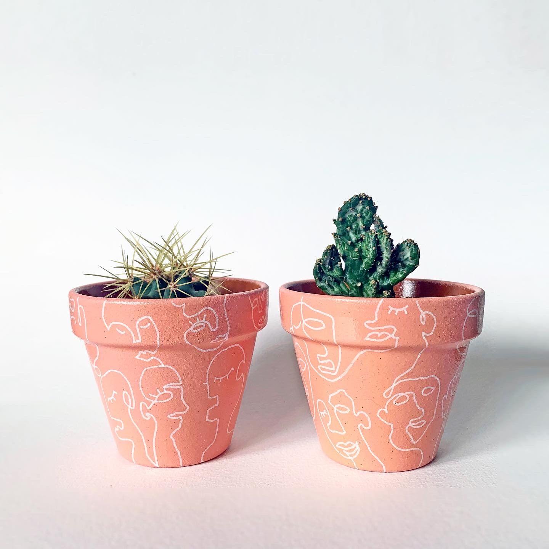Linear Art Set Of 2 Plant Pots Hand Painted Planter Home Decor Modern Art Painted Pots Diy Plant Pot Diy Painted Plant Pots