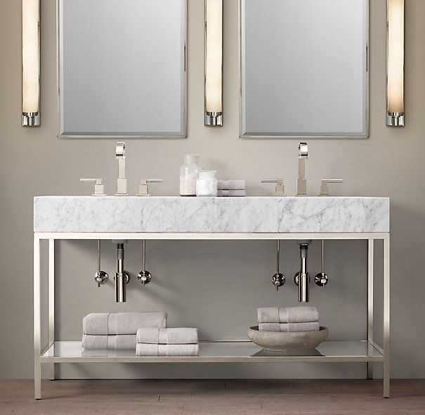 Hudson Metal Double Frame Washstand Classic Midcentury Rh Like The Idea Of A Metal Vanity