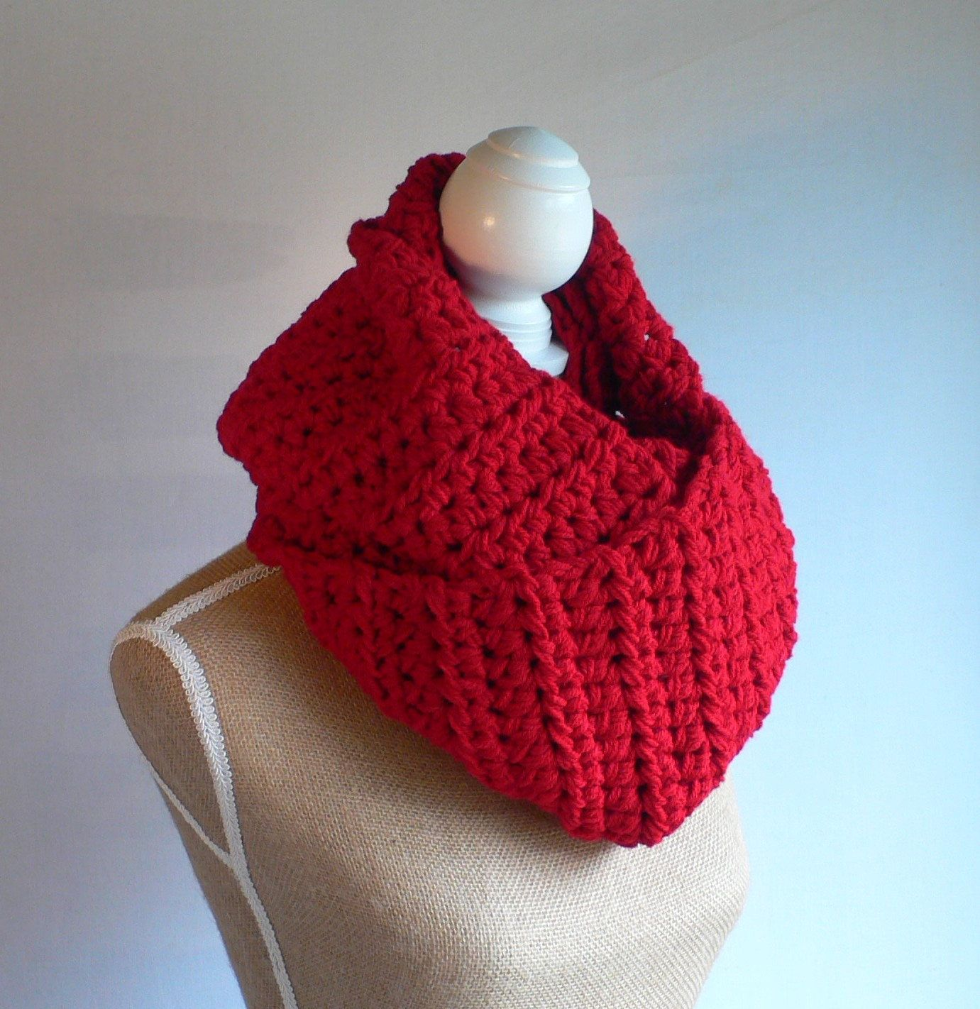 Red Infinity Scarf, Red Scarf, Crochet Scarf, Chunky Infinity,  Handmade Scarf, Womens Accessories, Crochet Circle Scarf, Extra Long Scarf by CTDESIGNSBESPOKEBAGS on Etsy