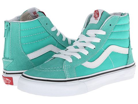 db1206c73c Vans Kids Sk8-Hi Zip (Little Kid Big Kid) Aqua Green True White -  Zappos.com Free Shipping BOTH Ways