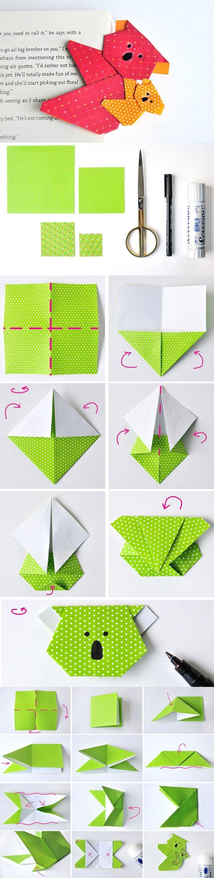 diy koala origami - lesezeichen | deco | origami, origami facile et