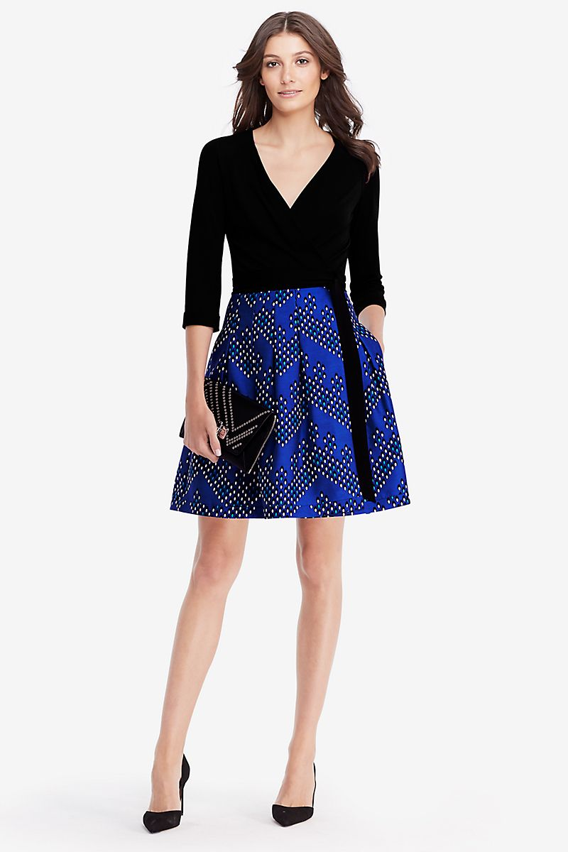 The new Jewel dress is a modern wrap style featuring a full skirt ...