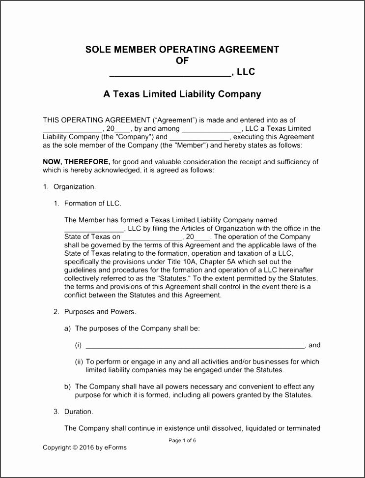 Texas Llc Operating Agreement Template Cdpc Best Of Free Single Member Form Word