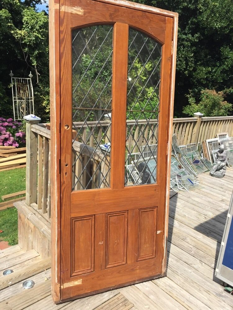 Large Edwardian Front Door Old Period Reclaimed Wood Antique Leaded Pine  Joiner
