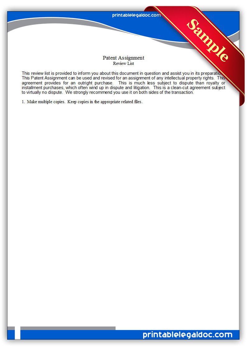 Free Printable Patent Assignment Legal Forms  Free Legal Forms