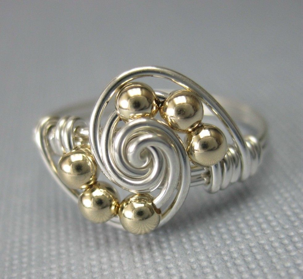 Mixed Metals Wire Wrapped Gravitation Ring -- Sterling Silver and ...