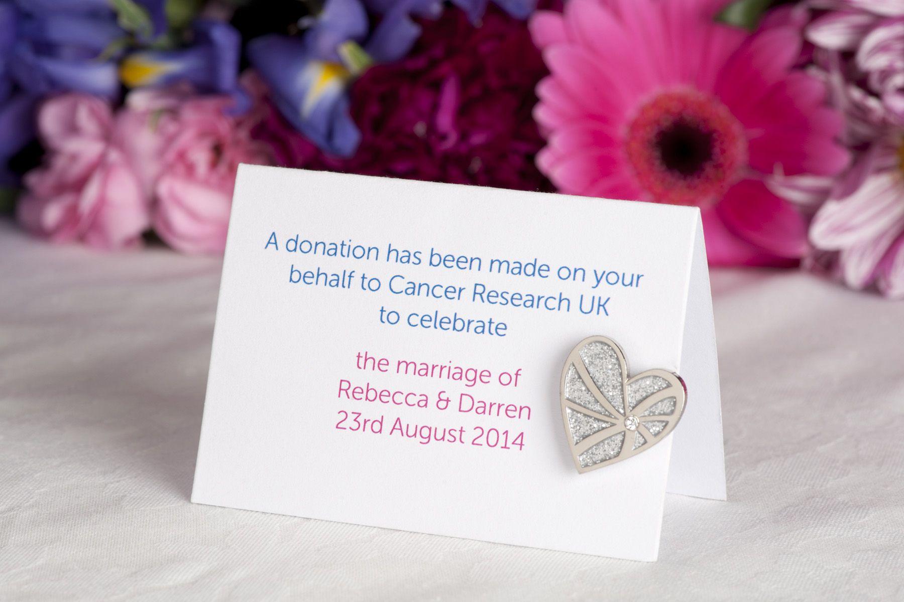 Cancer Research UK wedding favour designed by bridal designer ...