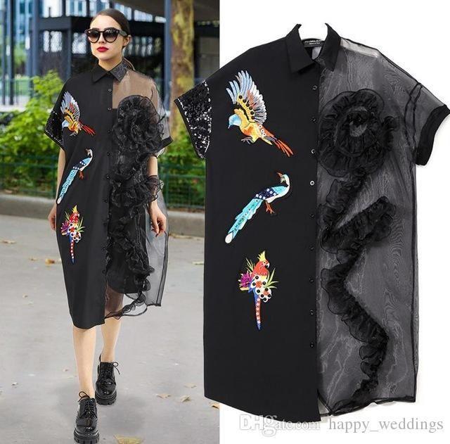 New 2018 Summer Women Black Mesh Shirt Dress Plus Size Ruffle Bird Embroidery Big Size Girls Sheer Midi Dress Party Dresses