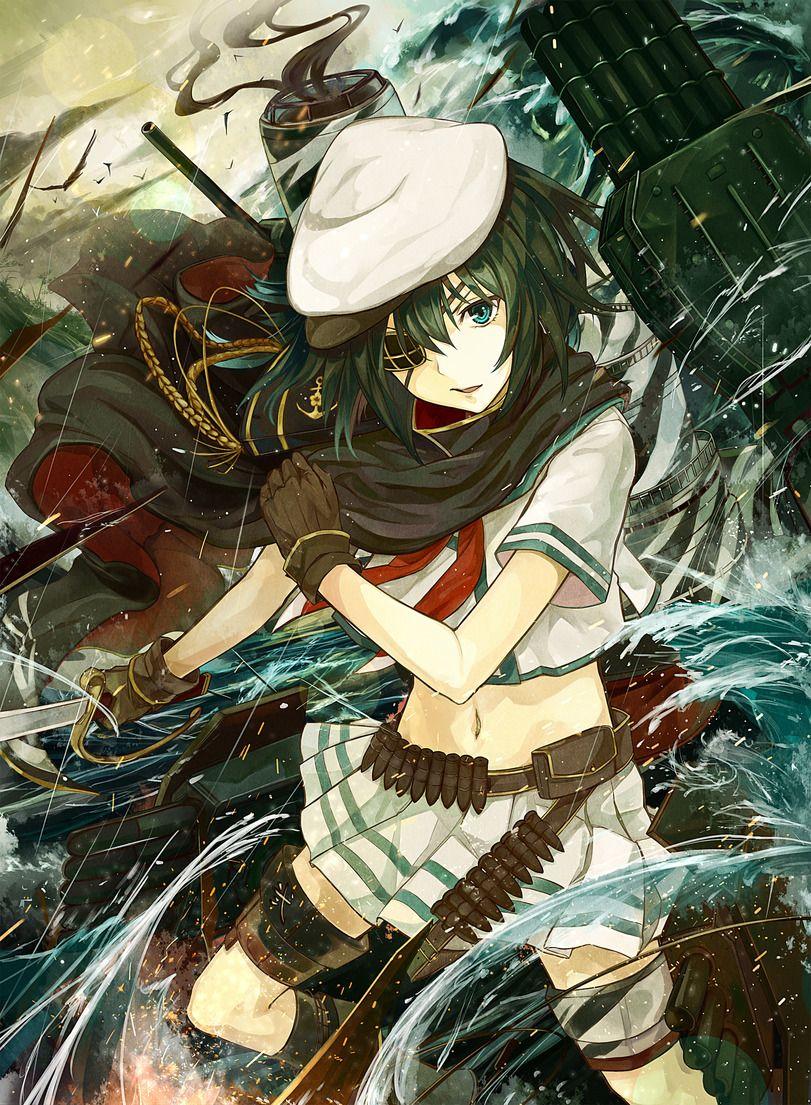 Anime Art Beautiful Pictures Girl Battle Sea Mecha Kantai