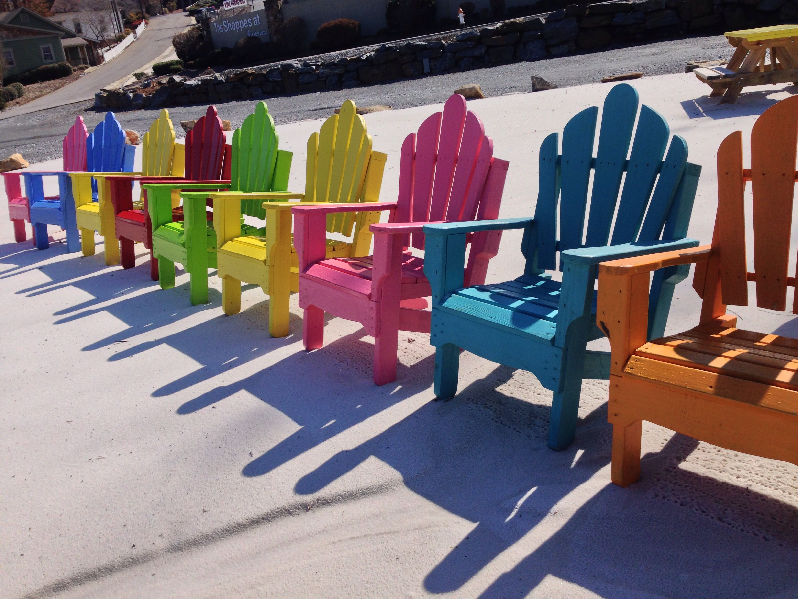Beautiful, brightly colored adirondack chairs. Picture by ...