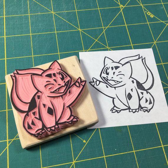 Bulbasaur rubber stamp.  Handmade rubber stamp by ArtfulSunshine