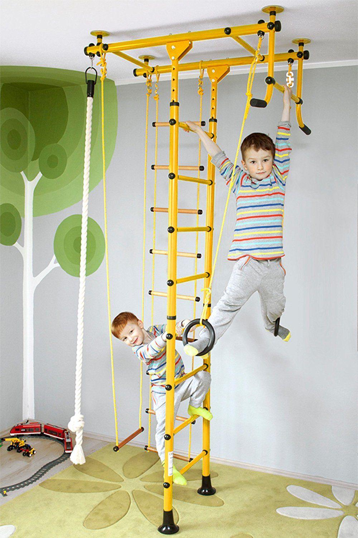 Awesome Kletterger st Kindersportkomplex Sprossenwand Heimtrainer f r Kinder FitTop M Gelb Raumh he cm
