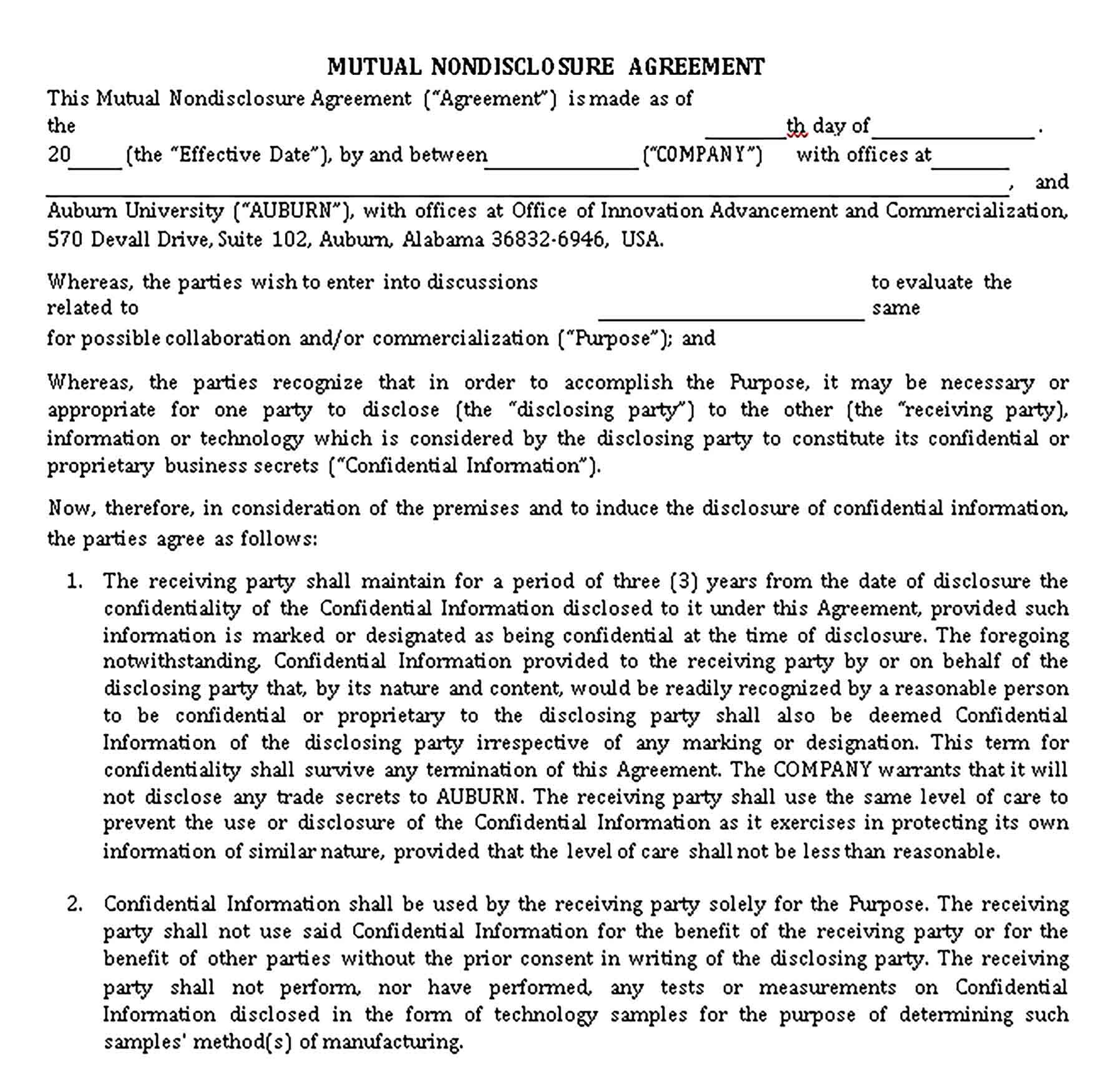 Mutual Non Disclosure Agreement Sample Templates Non Disclosure Agreement Non Disclosure Agreement Templates Templates