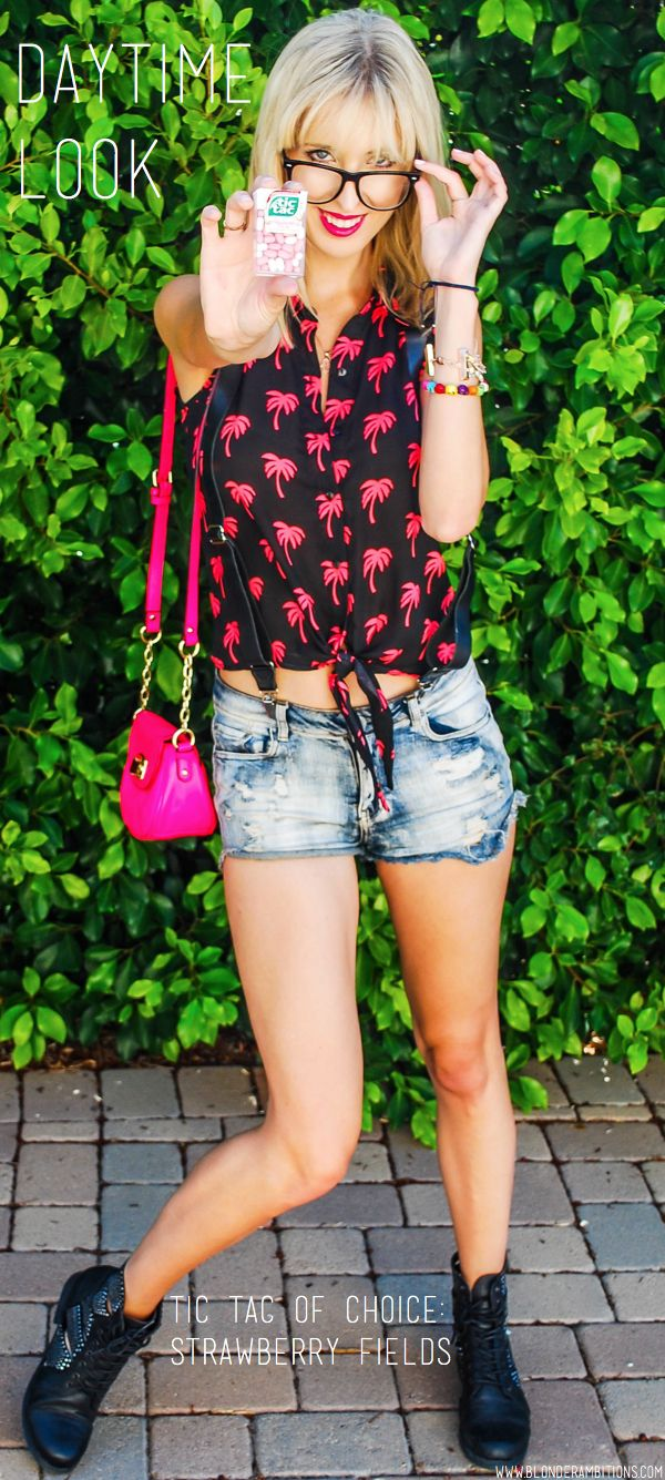 Daytime Look. Summer. Neon. Bright. Contrast. Palm trees. Hot Pink. Lipstick. Blonde. Bangs. Boots. Denim. Shorts.