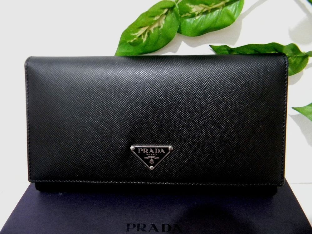 Prada Milano Black Buttons Womens Leather Wallet With Card New