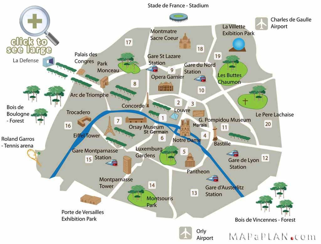 Paris Attractions | Paris top tourist attractions map Fun locations ...