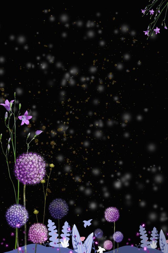 Simple Atmosphere Black Purple Flower
