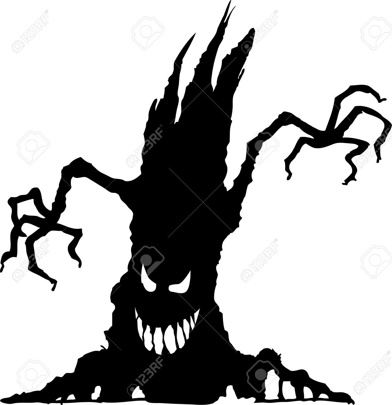Vector Illustration Of Halloween Scary Tree Silhouette