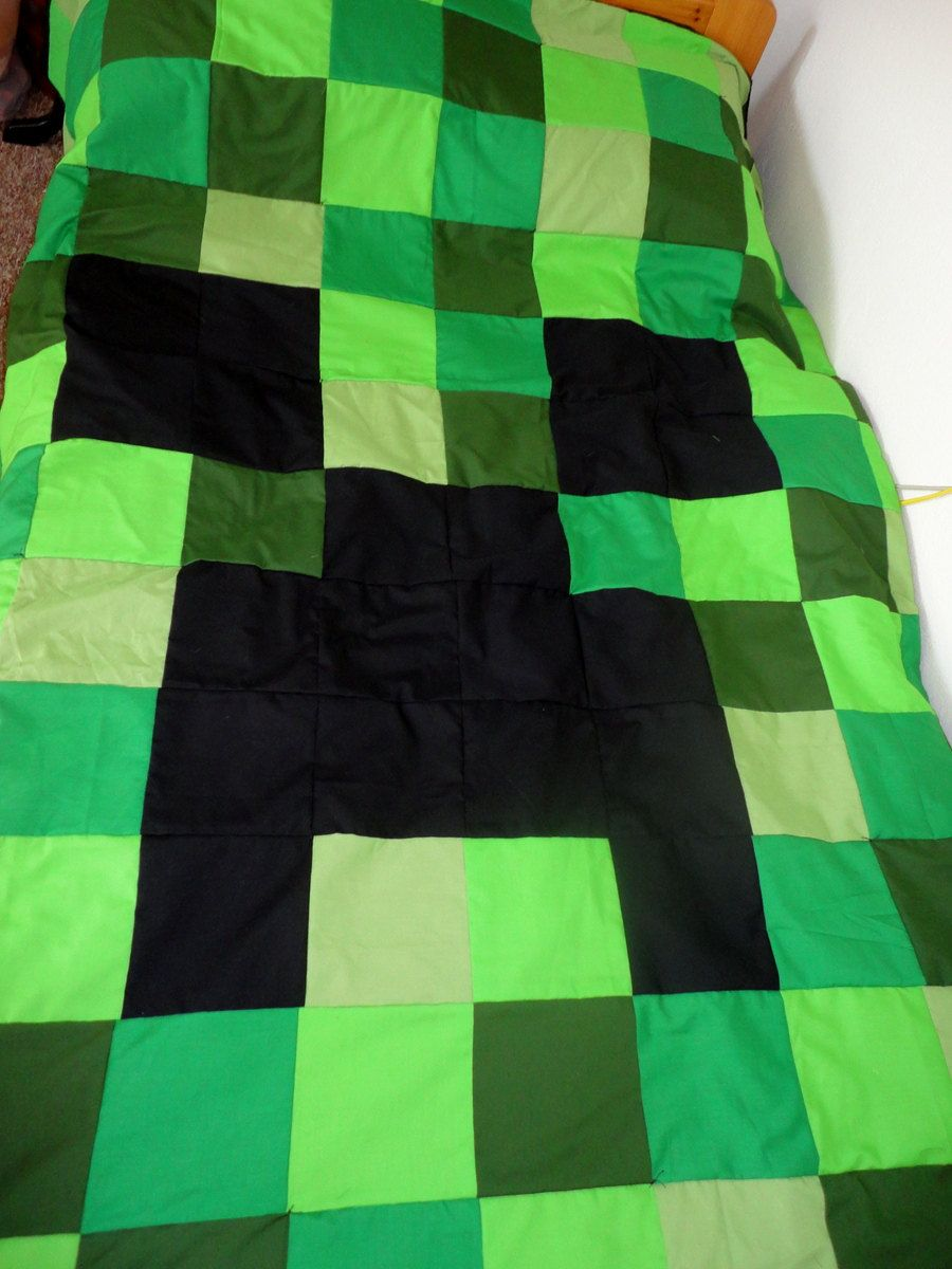Minecraft Creeper Handmade Twin Size Quilt by nicannmardee