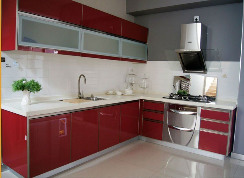 Buy acrylic kitchen cabinets sheet used for kitchen cabinet door wardrobe decoration from Kitchen profile glass design