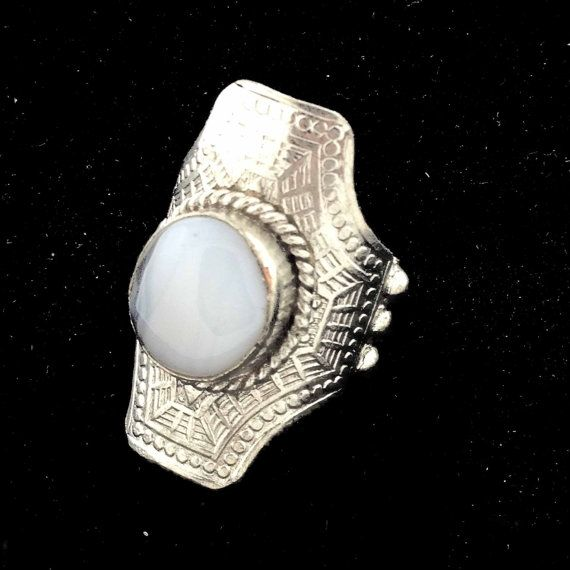 Vtg Silver Long Moon Ring Adjustable