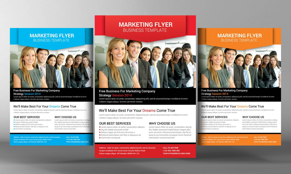 Marketing Flyer Template By Business Templates On Creative Market - Free marketing brochure templates