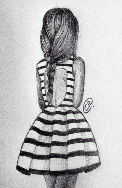 Back of a girl wearing a dress | Sketches, Cool drawings ...