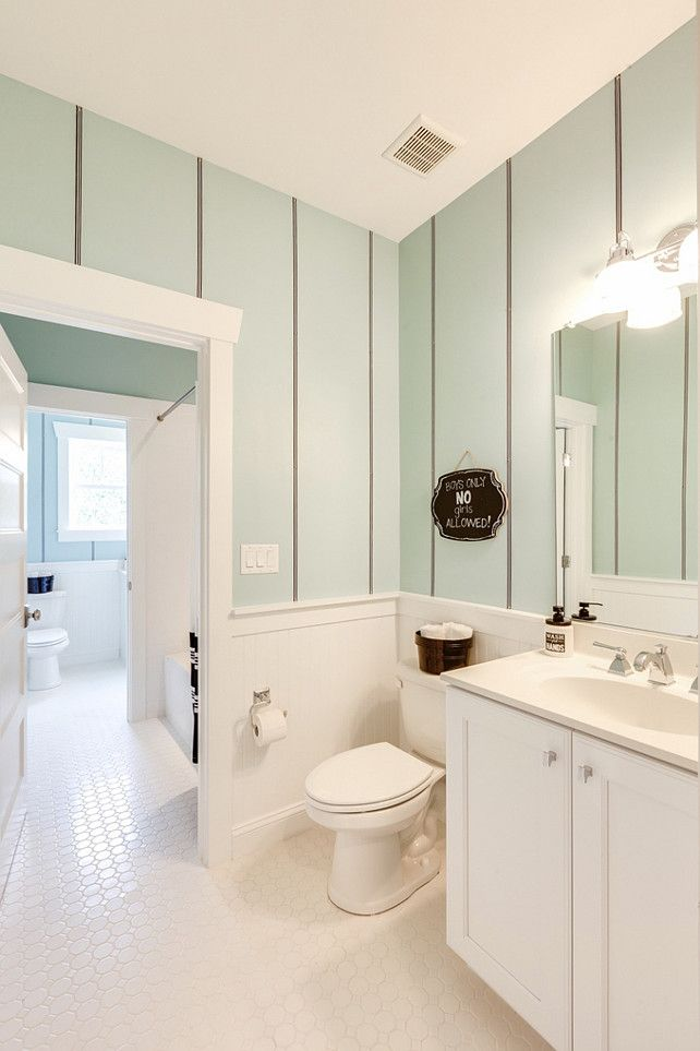Girls Bathroom Ideas. Cute Seafoam Girls Bathroom With Striped Walls And  Classic White Octagon Tiles