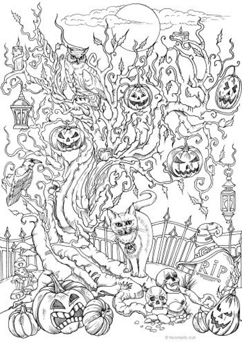 Halloween Tree Printable Adult Coloring Page From Favoreads Coloring Book Pages For Adults And Kids Coloring Sheets Coloring Designs In 2020 Halloween Coloring Sheets Halloween Coloring Pages Halloween Coloring Book