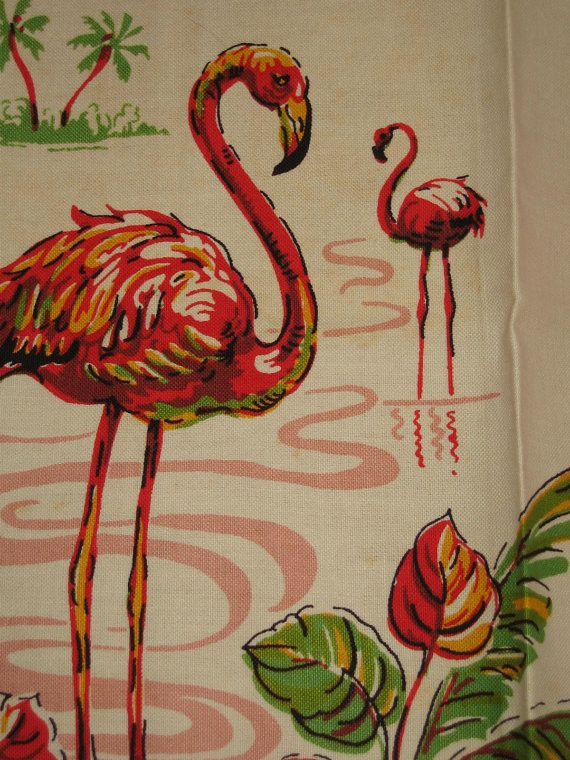 Vintage Pink Flamingoes Tea Kitchen Towel by randomretro on Etsy